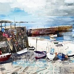 Sennen Cove Boats by Tom Butler - Hand Finished Limited Edition on Paper sized 16x16 inches. Available from Whitewall Galleries
